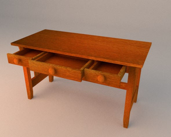 Simple Wooden Desk with Drawers - 3DOcean Item for Sale