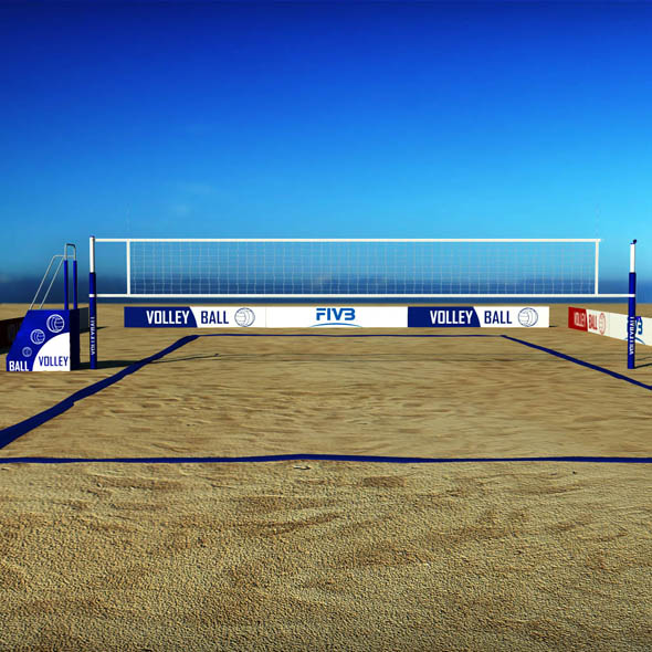 Beach volleyball court low poly - 3DOcean Item for Sale