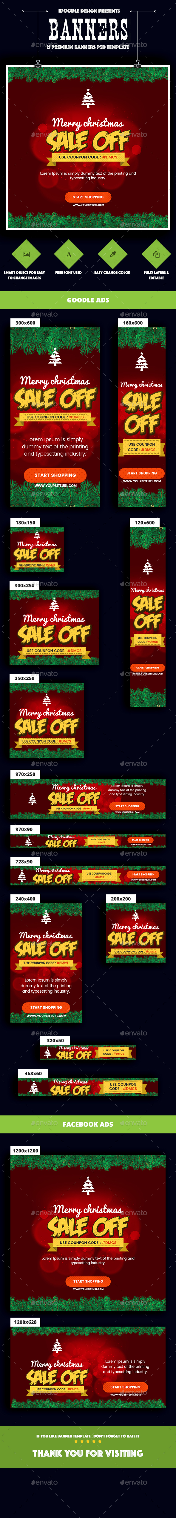 Merry Christmas Banners Ad - Banners & Ads Web Elements