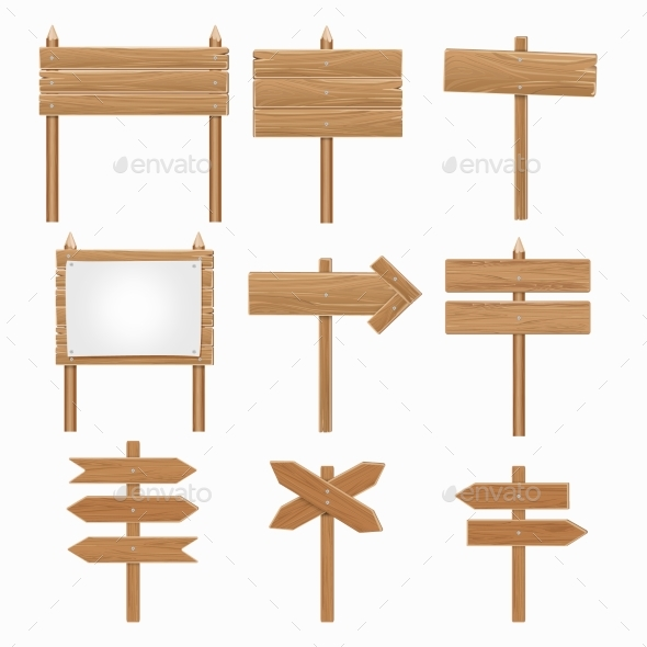 Wooden Signboards, Wood Arrow Sign Set - Man-made Objects Objects