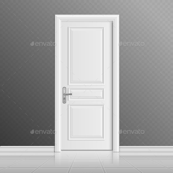Closed White Entrance Door Vector Illustration - Man-made Objects Objects