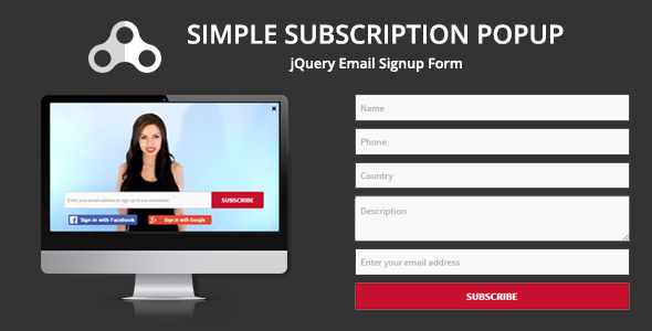 Simple Subscription Popup-jQuery Email Signup Form - CodeCanyon Item for Sale