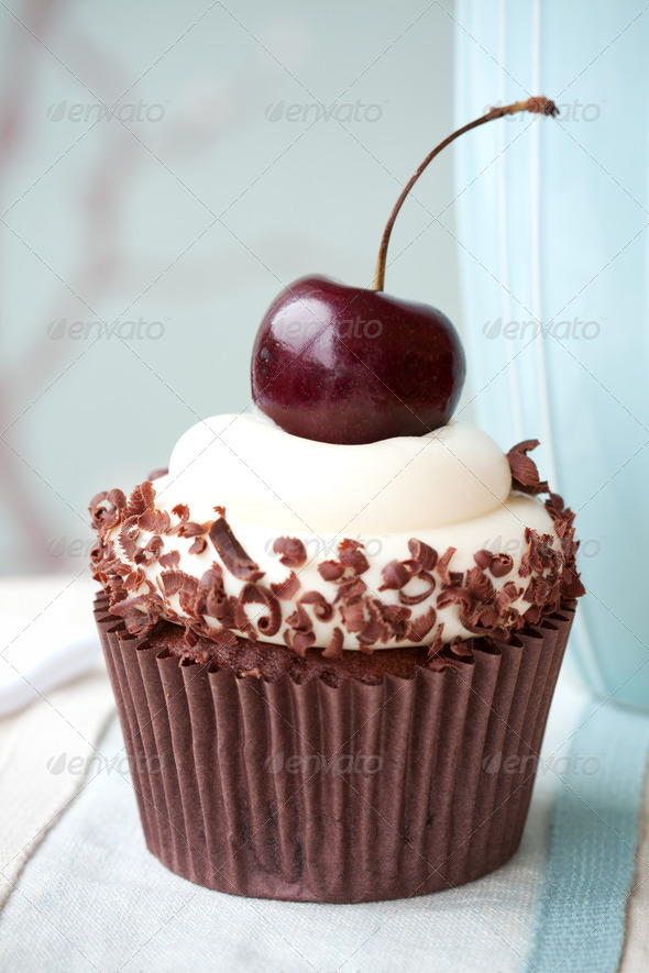 Black forest cupcake - Stock Photo - Images