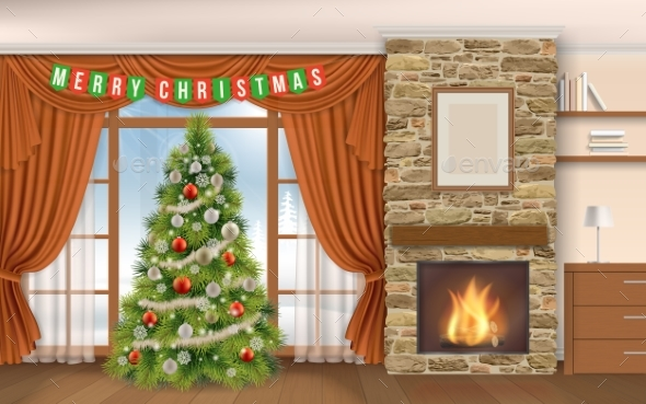 Living Room with Fireplace Cristmas Tree - Christmas Seasons/Holidays