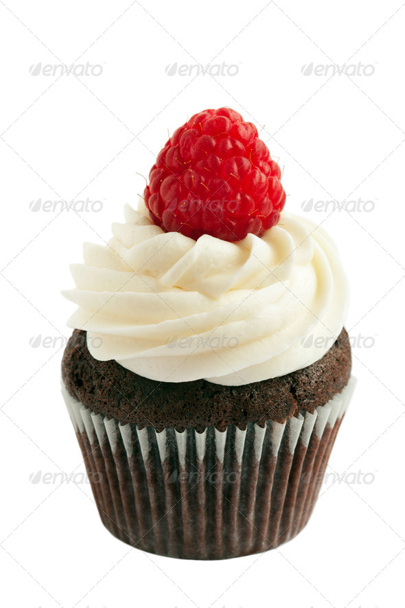 Raspberry chocolate cupcake - Stock Photo - Images