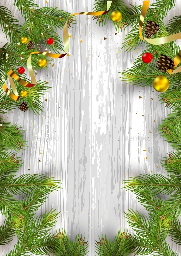 Christmas Card Background with Fir Tree - Christmas Seasons/Holidays