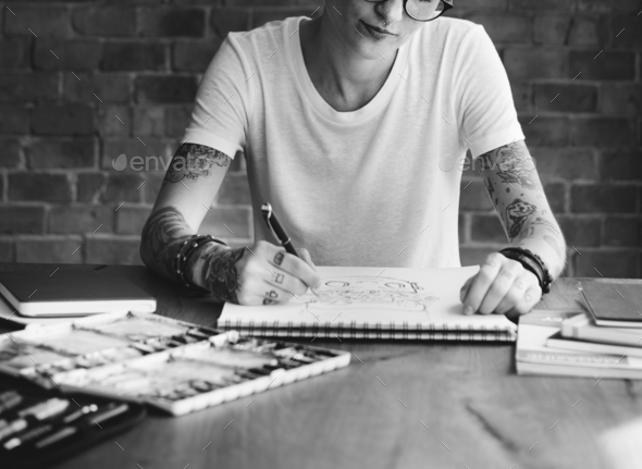 Tattoo Woman Creative Ideas Design Inspiration Concept - Stock Photo - Images