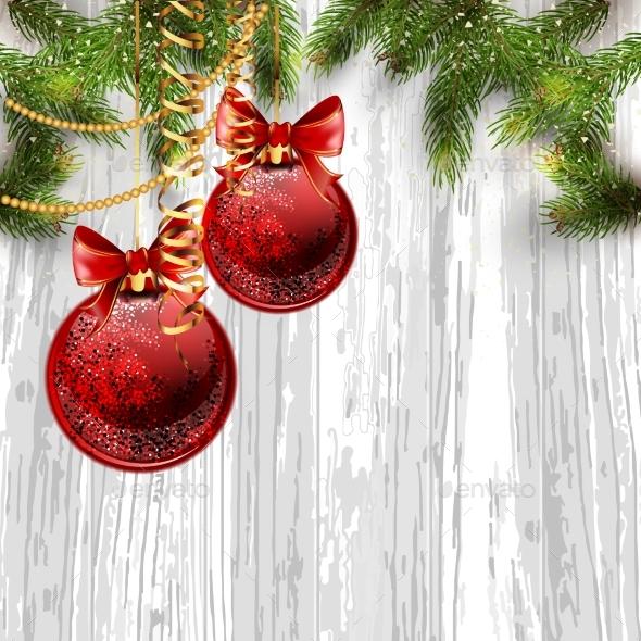 Christmas Card Background with Fir Tree - Christmas Seasons/Holidays
