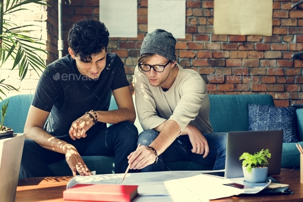 People Meeting Discussion Design Talking Blueprint Concept - Stock Photo - Images