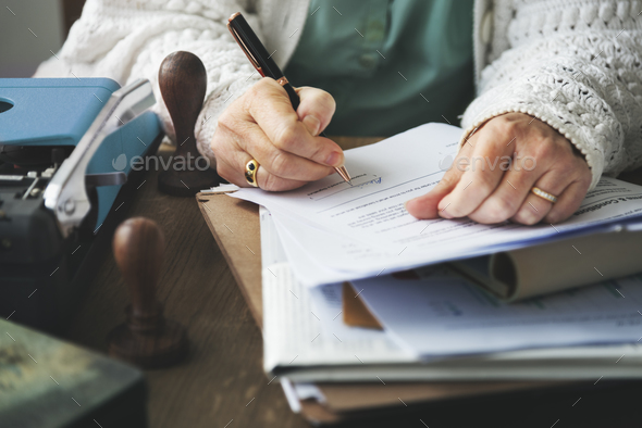 Stamp Signing Authorization Contract Documents Concept - Stock Photo - Images