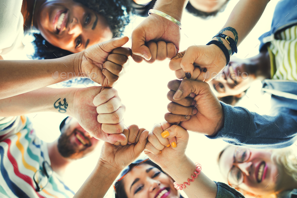 Friends Fist Together Circle Teamwork Concept - Stock Photo - Images