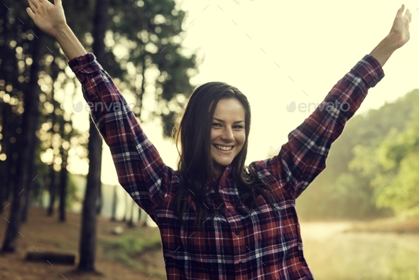 Girl Enjoying Freedom Outdoors Concept - Stock Photo - Images
