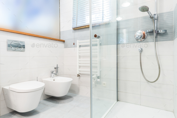 Modern bathroom with picture - Stock Photo - Images