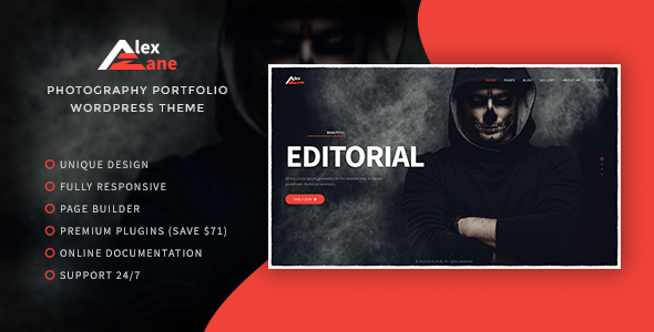Alex Zane – Photo/Portfolio WordPress Theme