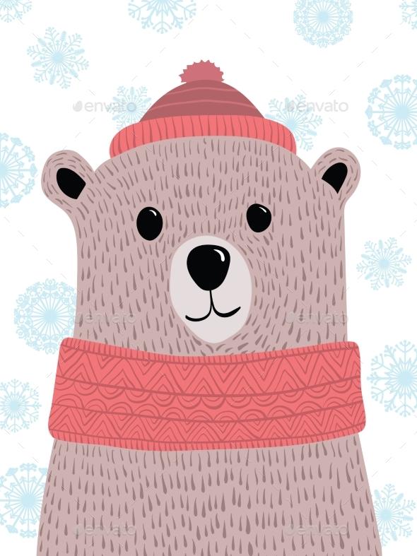 Christmas Illustration with Polar Bear - Christmas Seasons/Holidays