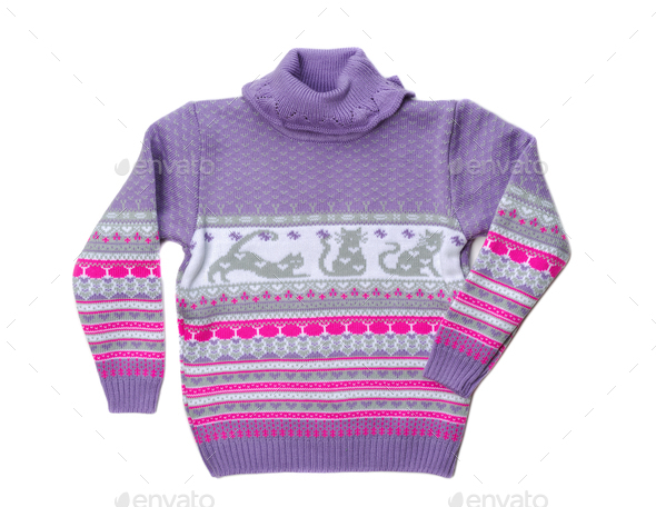 Knitted warm violet sweater pattern - Stock Photo - Images
