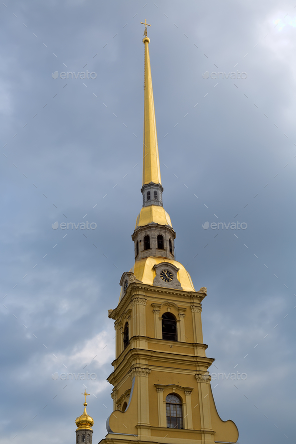 The spire of the Peter and Paul Fortress. - Stock Photo - Images