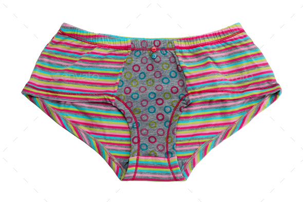 Striped colored cotton panties. - Stock Photo - Images