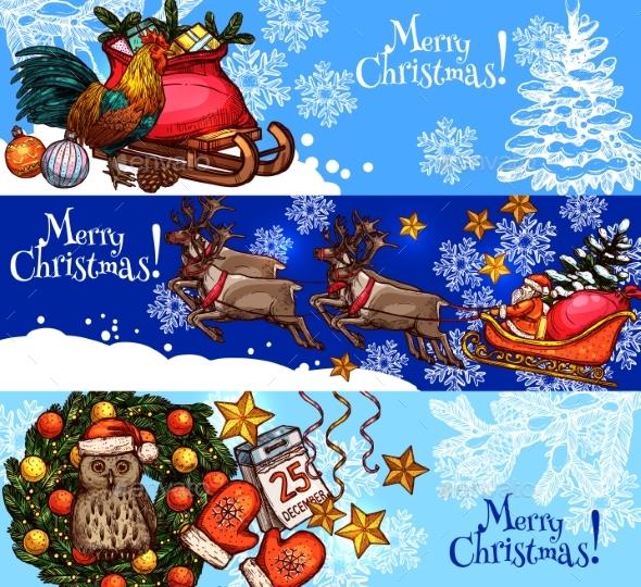 Christmas New Year Sketch Banner for Xmas Design - Christmas Seasons/Holidays