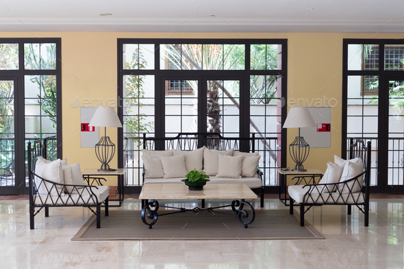 Wrought iron furniture in the hotel lobby - Stock Photo - Images