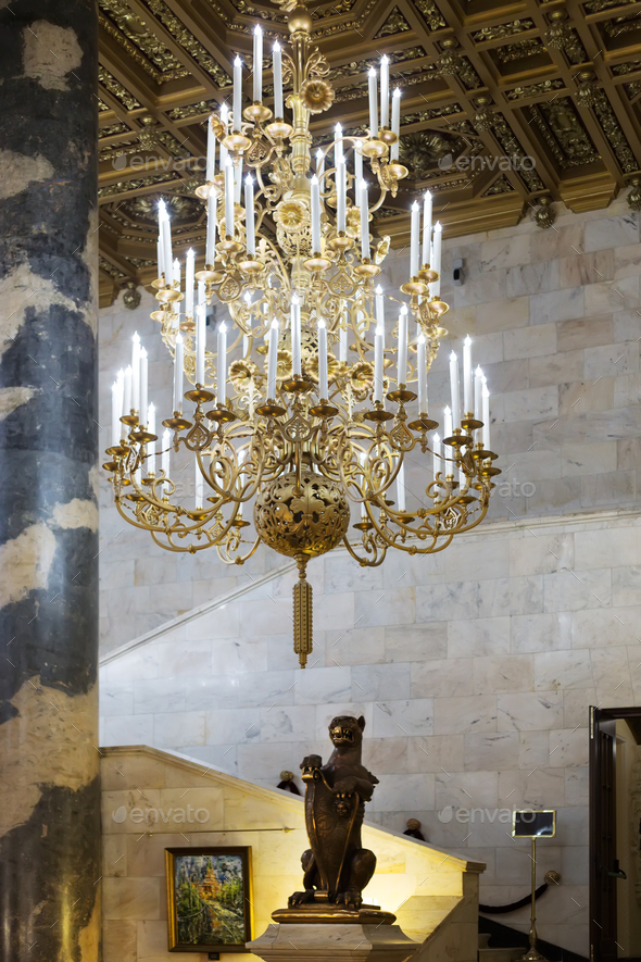 Column Hall chandelier - Stock Photo - Images