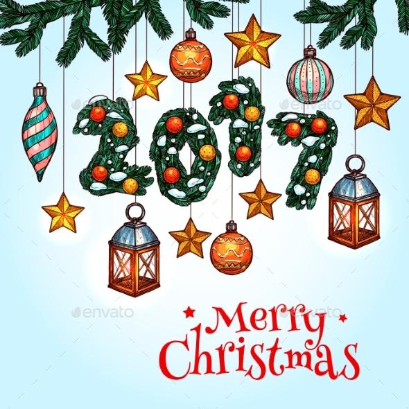 Christmas Greeting Card with Decorated Xmas Tree - Christmas Seasons/Holidays
