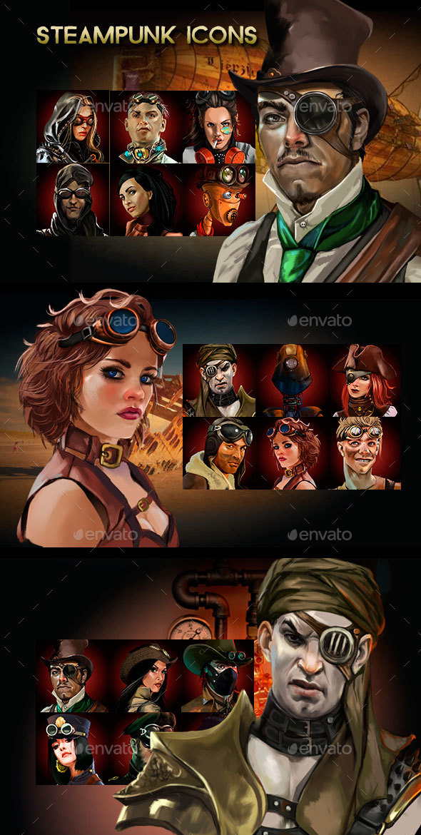 Steampunk Characters Icons - Miscellaneous Game Assets