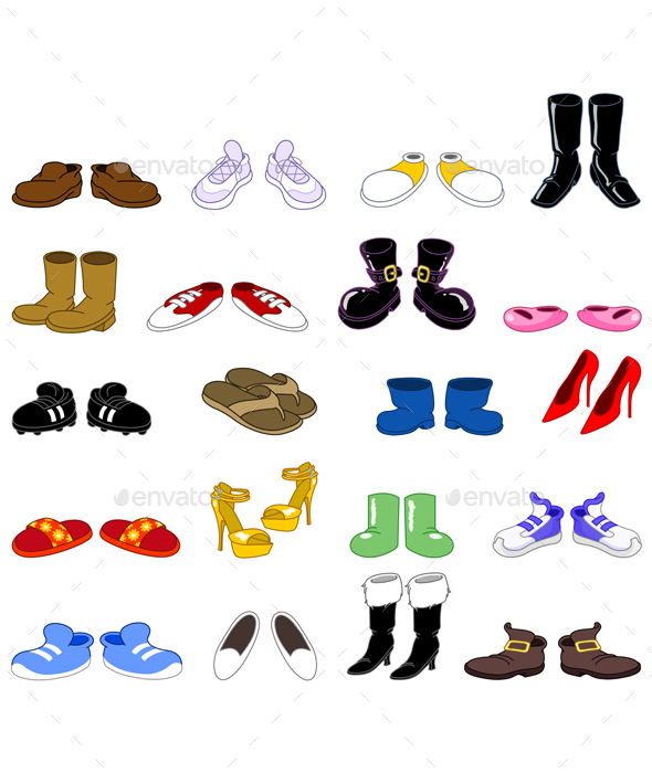 Cartoon Shoes Set - Man-made Objects Objects