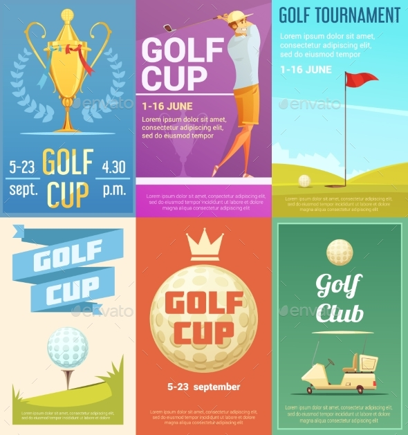 Golf Club 6 Retro Posters Set - Sports/Activity Conceptual