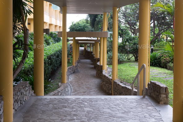 corridor, columns, tropical - Stock Photo - Images