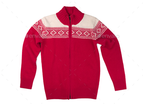 Wool red sweater. - Stock Photo - Images