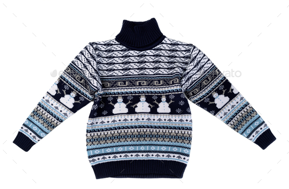 Knitted sweater with a snowman pattern. - Stock Photo - Images