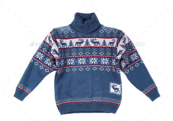 Knitted sweater with a pattern deer. - Stock Photo - Images