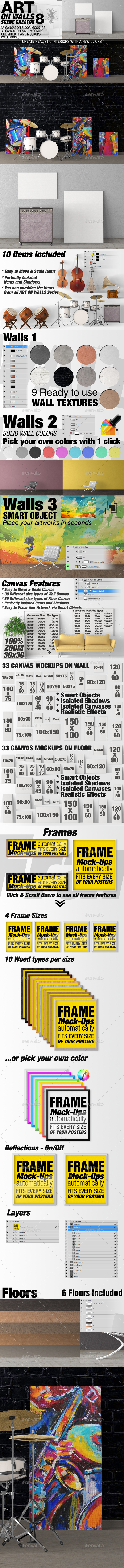 Art On Walls Mockup - Canvas Mockups - Frame Mockups - Wall Mockups ...