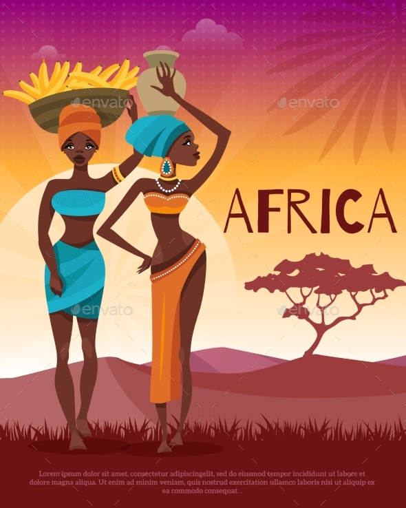 African Culture Tribal Traditions Flat Poster - Miscellaneous Vectors