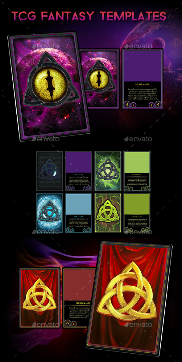 Fantasy TCG/CCG Cards HD Templates - User Interfaces Game Assets