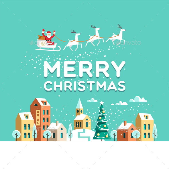 Christmas Greeting Card Winter Town - Christmas Seasons/Holidays