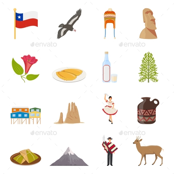Chile Flat Colored Icons - Travel Conceptual