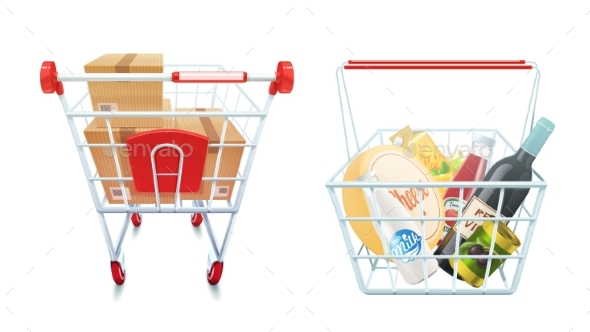 Shopping Cart and Basket Set - Retail Commercial / Shopping