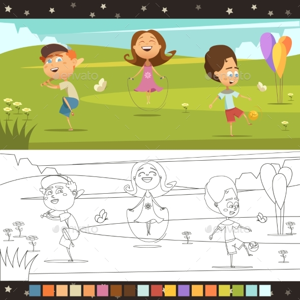 Kids Coloring Page - People Characters