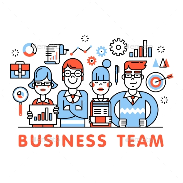 Young and Successful Business Team Standing Tall - Concepts Business