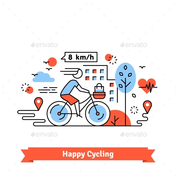 Urban Bike Path Happy Cycling Woman - Sports/Activity Conceptual
