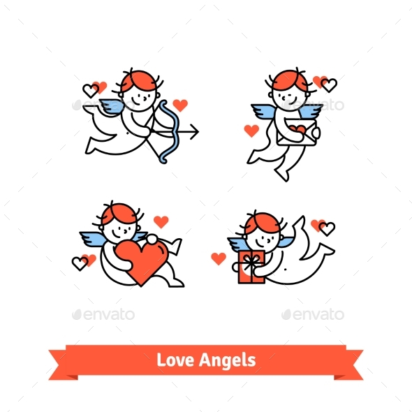 Love Angels Cupid Boys with Presents and Gifts - Valentines Seasons/Holidays