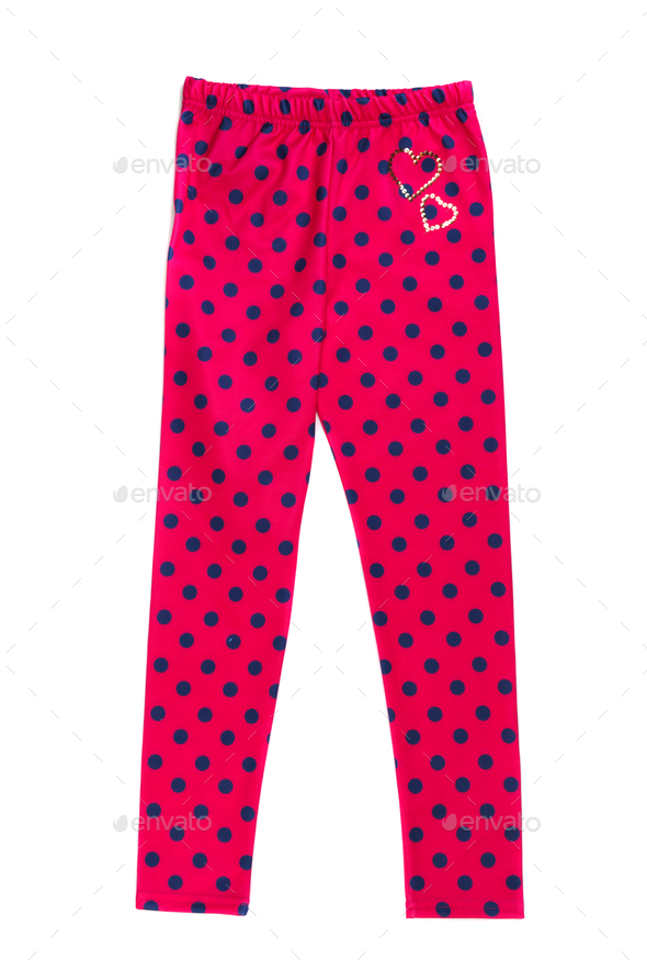 Red tights with polka dots. Isolate on white. - Stock Photo - Images