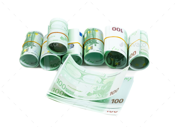 Denominations, 100 euros rolls. Isolate on white. - Stock Photo - Images