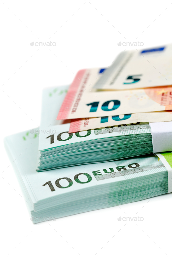 Banknotes 100, 10 and 5 euros - Stock Photo - Images