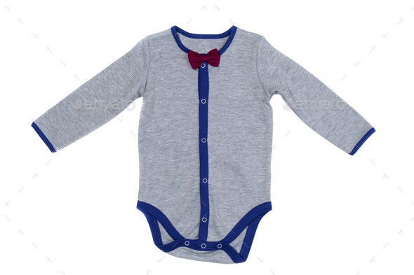 Children's underwear, gray, isolate on white - Stock Photo - Images