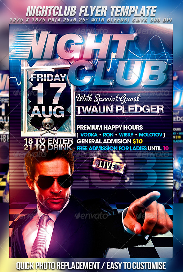 Nightclub Flyer Template By Mexelina  Graphicriver