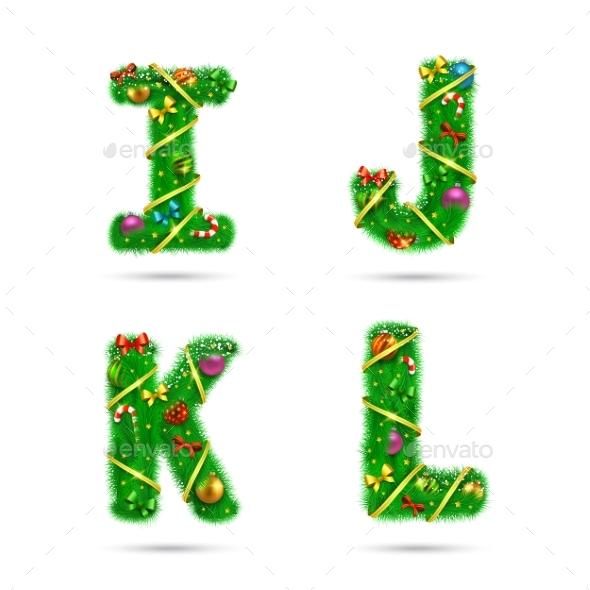 Fir Tree Font Letters - Christmas Seasons/Holidays
