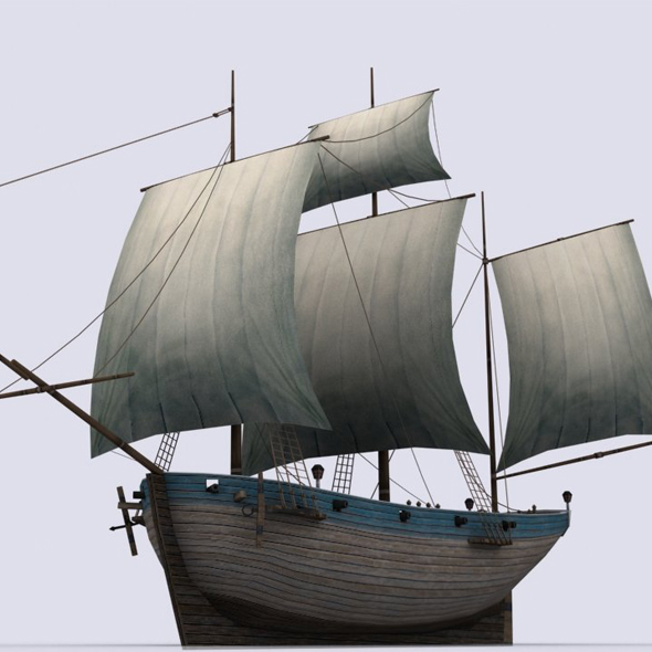Small sailing ship - 3DOcean Item for Sale